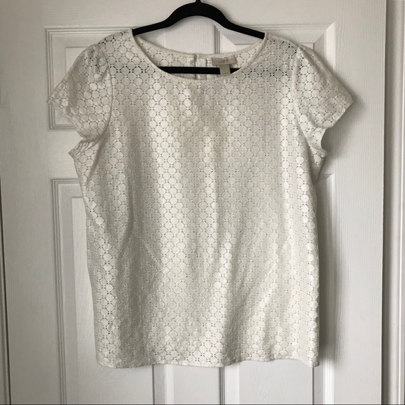 7671a75dab424 LOFT Tops - Loft shimmery off white lace fabric short sleeve